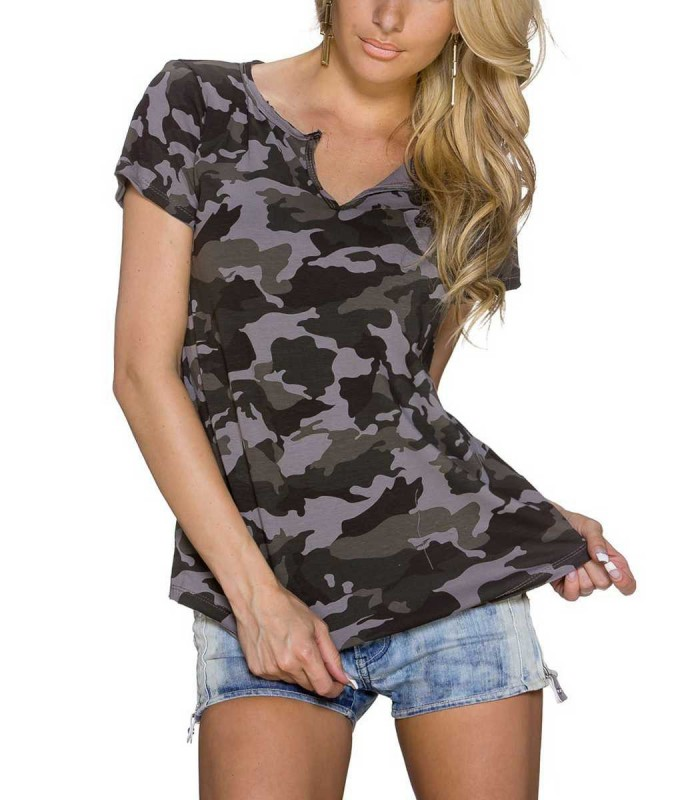 cooles damen camouflage muster t shirt poloshirt oberteil kurzarm grau ebay. Black Bedroom Furniture Sets. Home Design Ideas