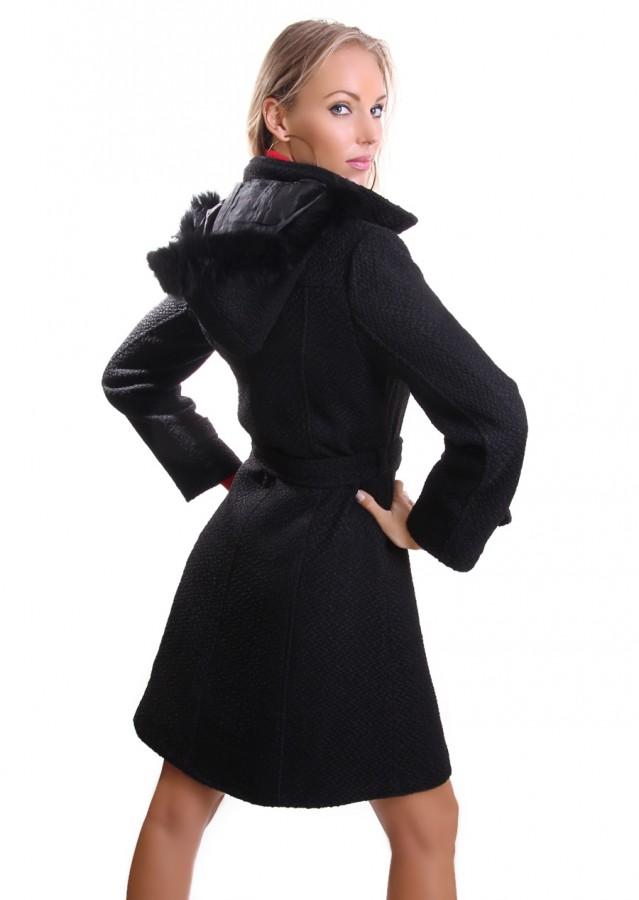 dufflecoat damen woll mantel mit g rtel und kapuze s m l. Black Bedroom Furniture Sets. Home Design Ideas