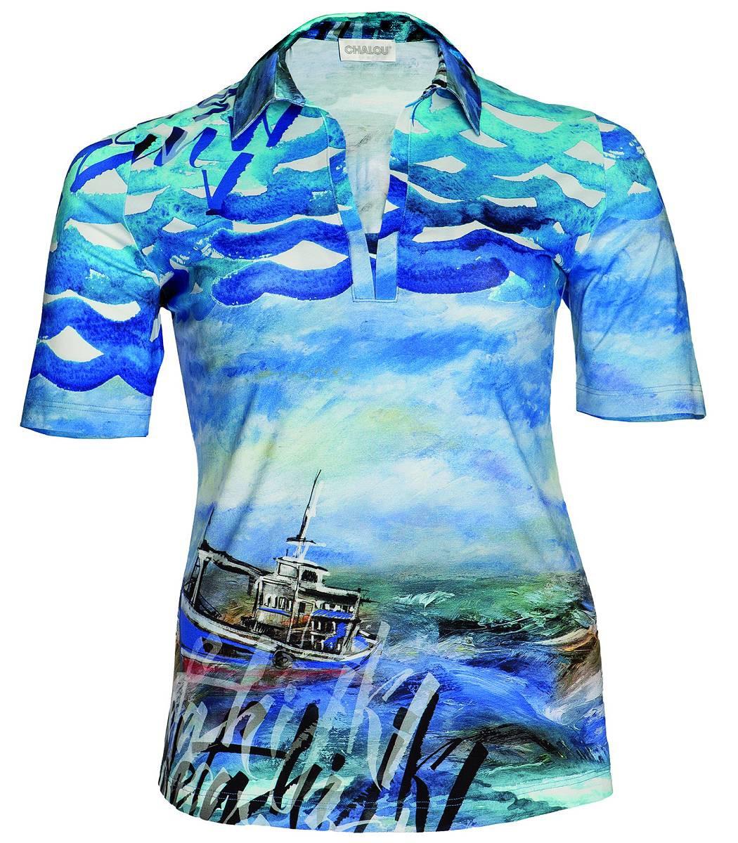 hawaii poloshirt f r damen von chalou gro e gr en in blau. Black Bedroom Furniture Sets. Home Design Ideas