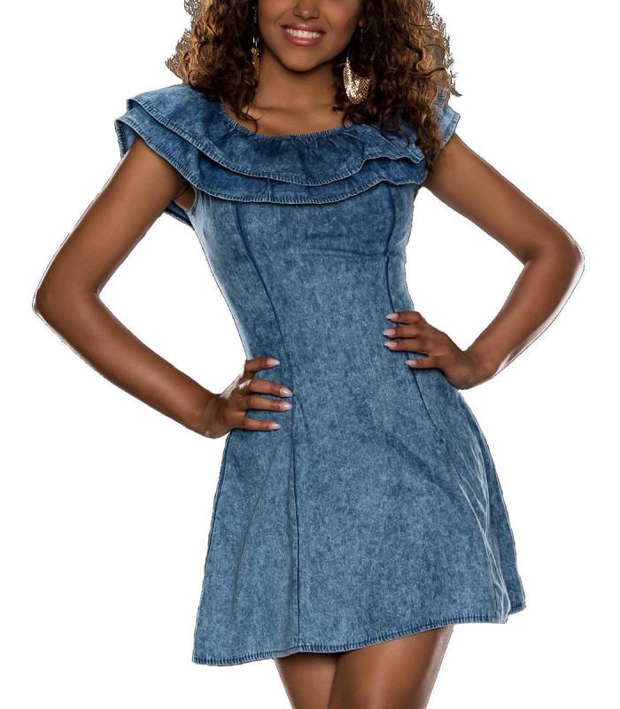 Carmen Jeans Minikleid Jeanskleid Sommerkleid Volants ...