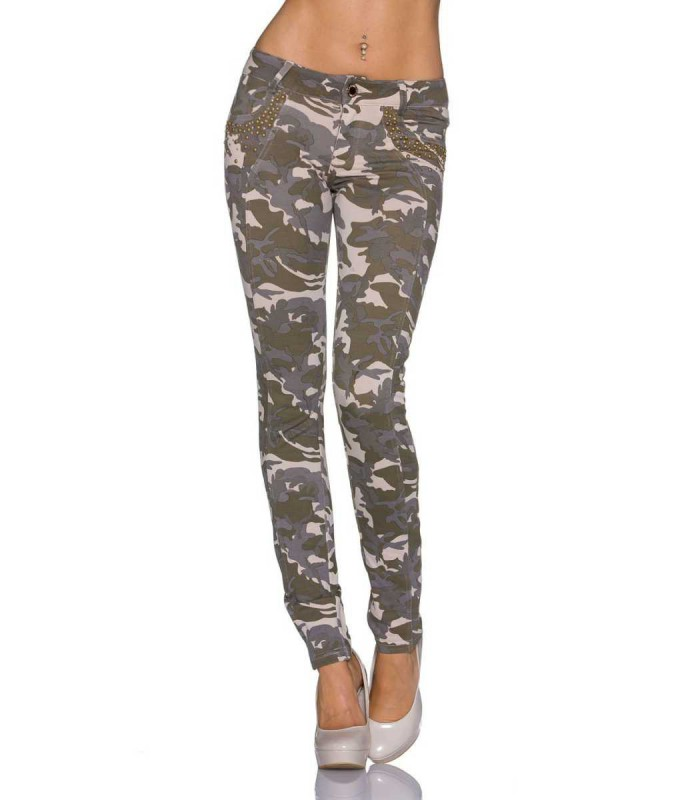damen stretch hose treggings jeggings army tarn muster strass camouflage look ebay. Black Bedroom Furniture Sets. Home Design Ideas