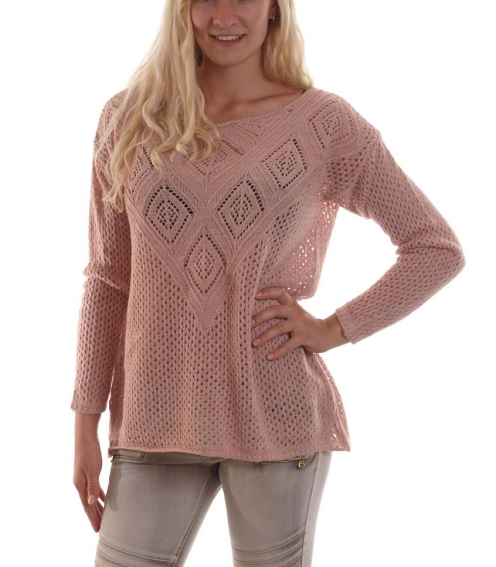 hailys damen pullover strickpullover mit strickmuster leichter pulli rosa ebay. Black Bedroom Furniture Sets. Home Design Ideas