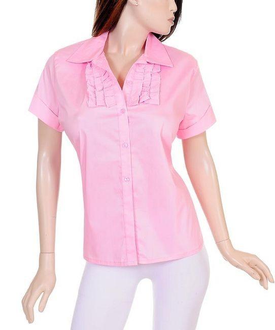 damen bluse stretch mit r schen aus baumwolle rosa gr 42. Black Bedroom Furniture Sets. Home Design Ideas