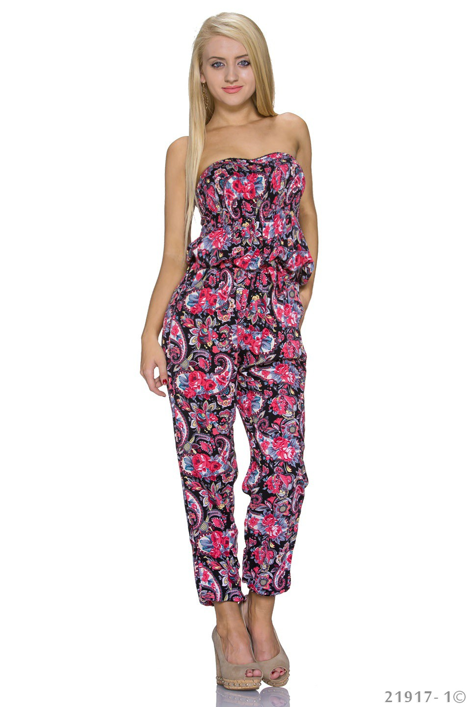 Bandeau Jumpsuit Overall in Rot Schwarz
